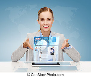 女性実業家, 微笑, タブレットの pc