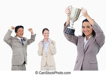 女性実業家, 微笑, 保有物のコップ