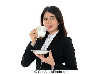 女性実業家, 微笑