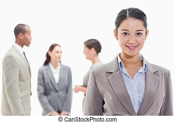 女性実業家, 微笑, 協力者, 背景