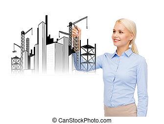 女性実業家, 微笑, 建設, 図画, サイト