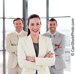 女性実業家, 微笑, 背景, 彼女, チーム