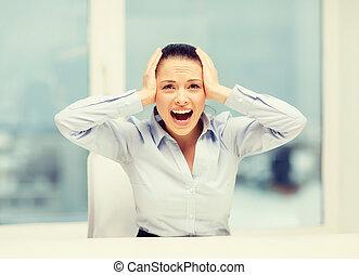 女性実業家, 怒る, 叫ぶこと, オフィス