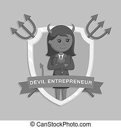 女性実業家, 悪魔, 紋章