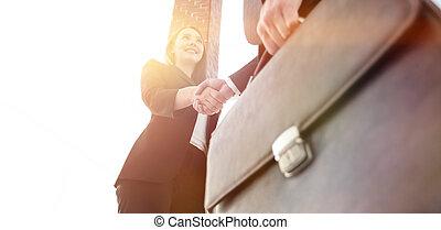 女性実業家, 手アップ, ビジネスマン, 終わり, 動揺