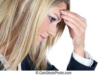 女性実業家, 持つ, 頭痛