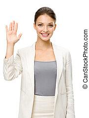 女性実業家, 提示, 半分長さ, やし, 肖像画
