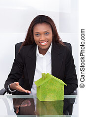 女性実業家, 提示, 緑, 有色人種, 家, 机