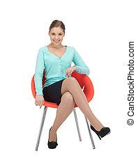 女性実業家, 椅子, 若い, モデル