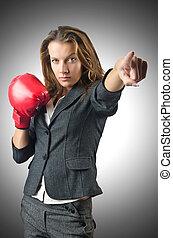 女性実業家, 概念, ボクシング, 若い