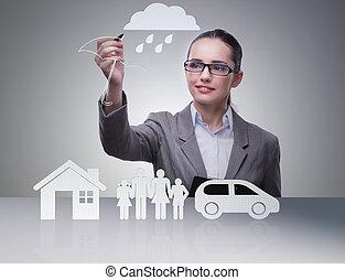女性実業家, 概念, 保険, 若い