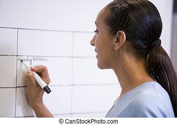 女性実業家, 消去可能, 屋内, 板, 執筆