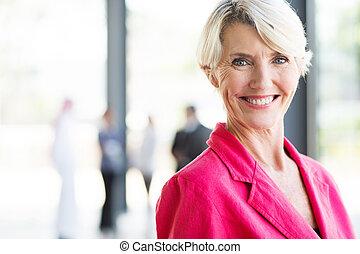 女性実業家, 現代, 年を取った, オフィス, 中央