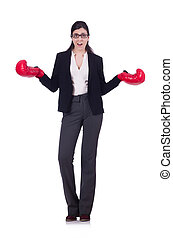 女性実業家, 白, 概念, ボクシング