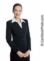 女性実業家, 白, 隔離された, 背景, 魅力的