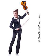 女性実業家, 白, 隔離された, violing