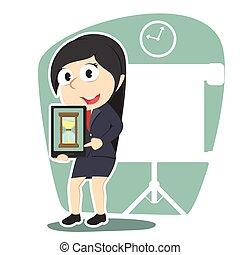 女性実業家, 砂時計, 保有物, タブレット, ディスプレイ