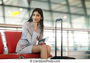 女性実業家, 空港, indian, 待つこと
