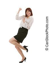 女性実業家, 若い, 喜び