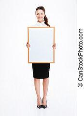 女性実業家, 若い, 板, 保有物, ブランク, 微笑