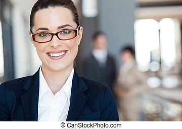 女性実業家, 若い, 痛みなさい