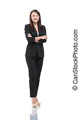 女性実業家, 若い, 隔離された, スーツ, 肖像画, 微笑, 幸せ