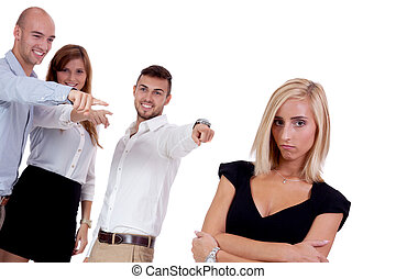 女性実業家, 若い, mobbing, 隔離された, いじめ, チーム