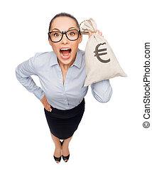女性実業家, 袋, 保有物の お金, 驚かせられた, ユーロ