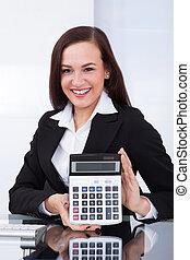 女性実業家, 計算機, 保有物, 机