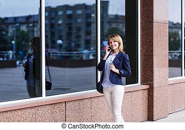 女性実業家, 話すこと, 電話