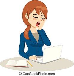 女性実業家, 退屈させられた, あくびする
