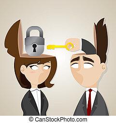 女性実業家, 錠を開けなさい, 漫画, キー, ビジネスマン