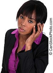 女性実業家, 隔離された, 呼出し, 作成, 黒, 白