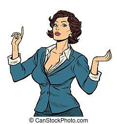 女性実業家, 隔離しなさい, 背景, 白, プレゼンテーション, ジェスチャー