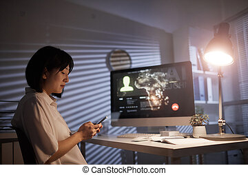 女性実業家, 電話, オフィス, 使うこと