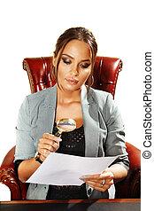 女性実業家, 顔つき, 上に, 文書