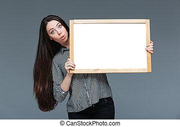 女性実業家, 驚かせられた, 板, 保有物, ブランク