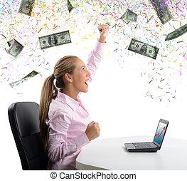 女性実業家, exults, 彼女, お金