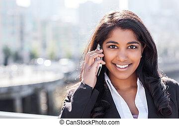 女性実業家,  indian, 電話