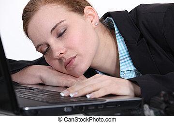 女性実業家, laptop., 彼女, 睡眠