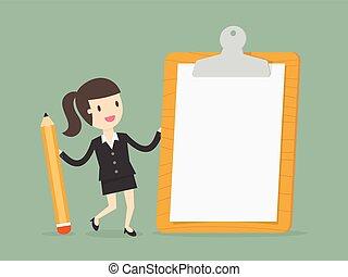 女性実業家, paper., クリップボード, 保有物, ブランク, 白