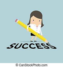女性実業家, success., 鉛筆, 執筆