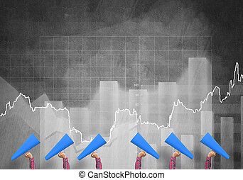 女性手, 続けて, 保有物, 青, ペーパートランペット, に対して, グラフ, 背景
