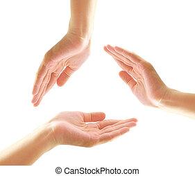 女性的手, 做, a, 形状, 在中, 环绕, 带, copy-space, 同时,, 隔离, 在怀特上