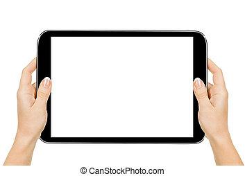 女性的手, 握住一个牌子, 触到, 计算机, 机件, 带, 隔离