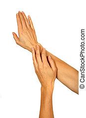 女性的手, 放上, l