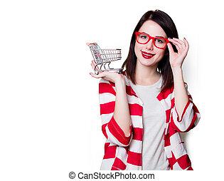 女性買い物, カート, ガラス