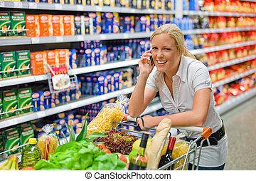 女性買い物, スーパーマーケット, カート