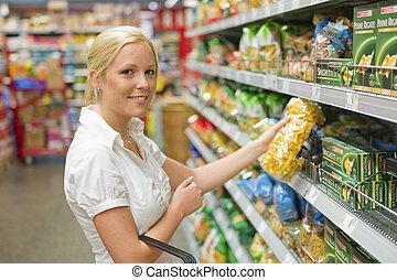 女性買い物, スーパーマーケット