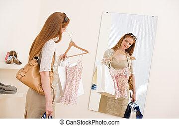 女性買い物, -, セール, 試み, ファッション, 幸せ, 衣服
